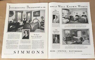 Simmons mattress ad 1927 orig vintage print 20s illus art Vanderbilt Tiffany