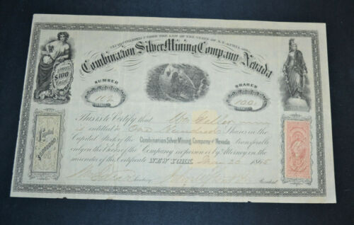 The Combination Silver Mining Company of Nevada 1865 antique stock certificate
