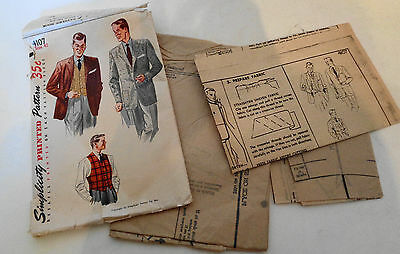 1952 Uncut Men's Jacket and Vest Pattern Simplicity 4107 Size 42