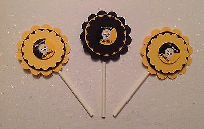 Nfl Pittsburgh Steelers Cupcake Toppers - Steelers Birthday - Steelers - Decor (Steelers Cupcake Toppers)