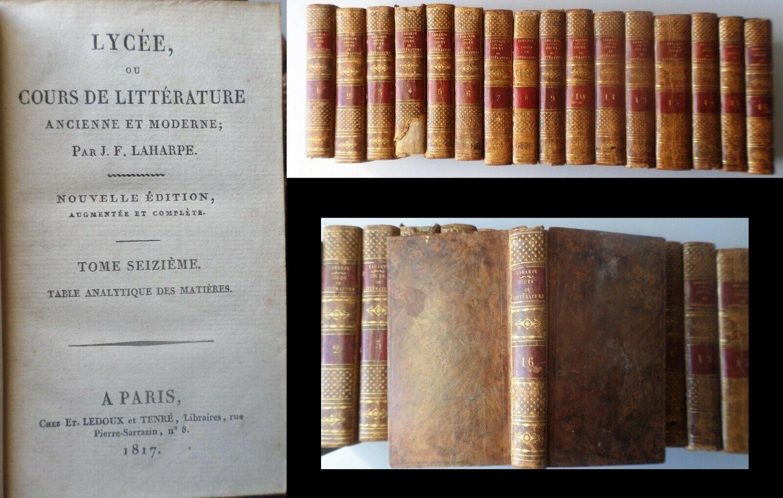 Lycée ou Cours de Littérature ancienne et moderne. Complet en 16 volumes. de LAHARPE J. F.
