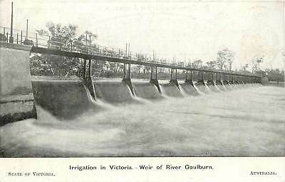 Australia,  Irrigation in Victoria, Weir of River Goulburn Early Postcard
