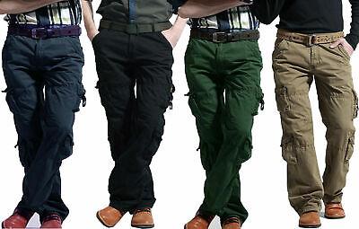 Men's Six Pockets Cargo Combat Pants Army Military Casual Outdoor Trouser Khakis Casual Pant Khaki