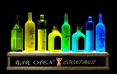 Multi Color Leds 2 Lighted Liquor Bottle Display Nude Lady Naked Lady Sign