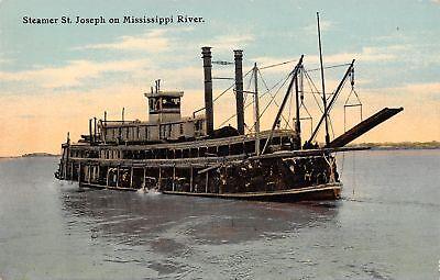 Mississippi River Boat~Steamer St Joseph~Loaded Sternwheeler~1908 Postcard