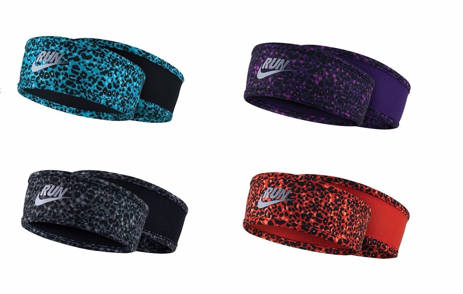 Nike Lotus Running Fitness Dri-Fit Fleece Headband Leopard 8