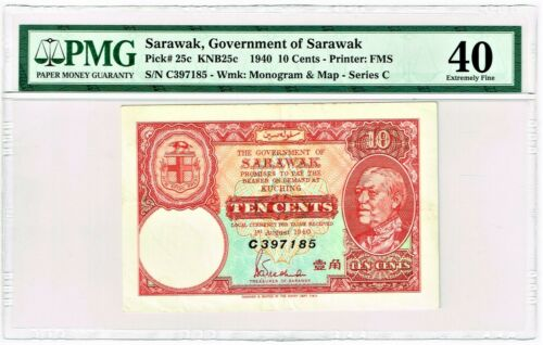 Sarawak: 1940 10 Cents. Pick# 25c. PMG Extremely Fine 40.