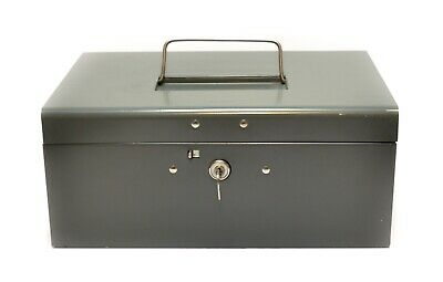 Vintage Oxford Metal Cash Lock Box With Key Grey