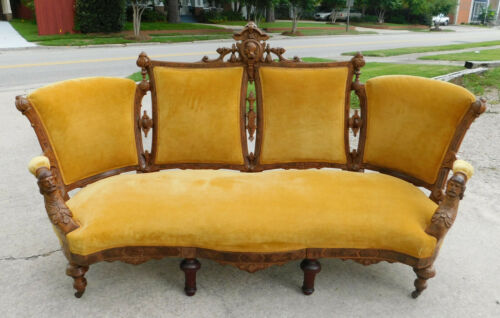 Walnut Jelliff Sofa~~Gold Velvet