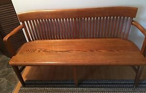 Antique Solid Golden Oak Bench