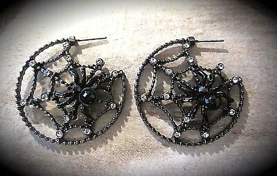 gothic creolen ohrstecker edelstahl spinnennetze mit spinne und steinchen -heiss