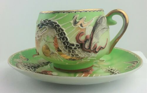 Dragon Ware Lithophane Cup & Saucer Reclining Geisha Moriage Detailed Vintage