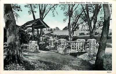 Oskaloosa Iowa Edmundson Park Stone Bridge   Well 1938 Blue Sky Postcard