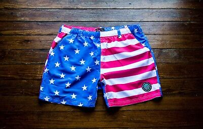 """5.5"""" American Flag Swim Shorts - Quick Dry -  No Interior Liner - Size: Large"""