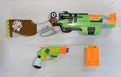 Nerf Zombie Strike SlingFire Soft Dart Gun+Doublestrike+8 Darts TESTED WORKING