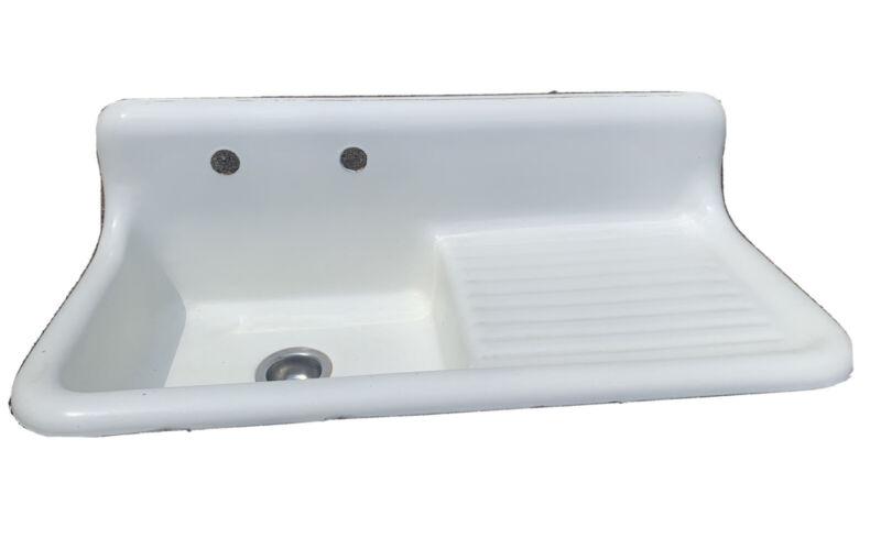 Vintage/antique cast iron white porcelain farmhouse drainboard kitchen sink