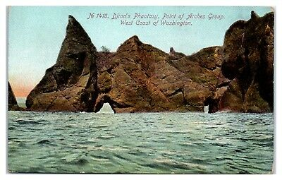 Early 1900s Djinn's Phantasy, Point of Arches Group, Neah Bay Ozette WA Postcard
