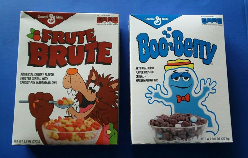 Frute fruit Brute & Boo Berry FULL cereal boxes retro vintage style 2013 Target