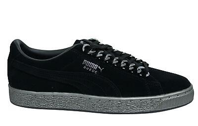 Puma Suede Classic x Chain Black Leather Lace Up Mens Trainers 367391 01