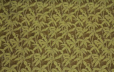 LUXURY PALM LEAF LEAF GREEN BROWN HEAVY UPHOLSTERY FABRIC BY THE YARD 56