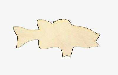 Large Mouth Bass Fish Unfinished Wood Shape Cut Out BMB1005 Lindahl Woodcrafts