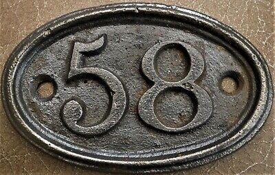 Antique - Vintage - Genuine & Original Cast Iron Door House No 58 FREE UK POST