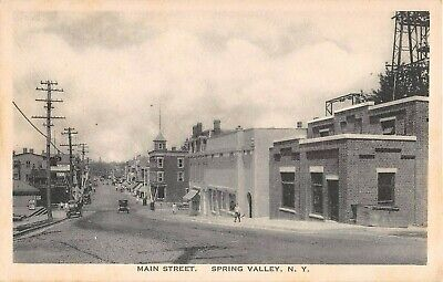1921 Stores Main St. Spring Valley NY post card Rockland (Main St Stores)