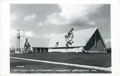 Rochelle Illinois~Skinny Camponile @ St Paul's Evangelical Lutheran~RPPC 1961