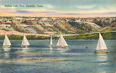 Linen Postcard B400 Buffalo Lake Near Amarillo Texas TX Sail Boats Boating