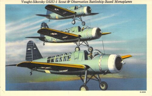 VOUGHT SIKORSKY OS2U-1 SCOUT Aircraft US Military Linen E-4908 Postcard A80