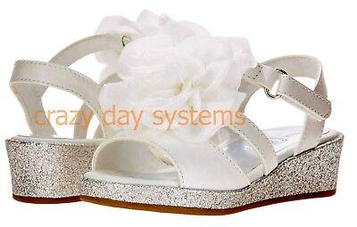 Little Lady Sparkle Wedge Dress White Flower Sandals  7, 9, 10, 11 Girls Toddler - White Toddler Dress Shoes