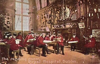 THE READING ROOM ROYAL HOSPITAL DUBLIN IRELAND POSTCARD POSTED 31-MAY-1906