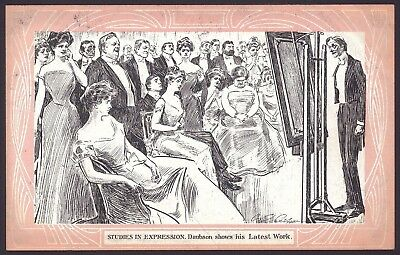 Studies in Expression. Daubson Shows His Latest Work. Victorian Humour Postcard