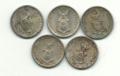 HIGH GRADE LOT 5 1944 D PHILIPPINES SILVER 20 CENTAVOS COINS-OCT629