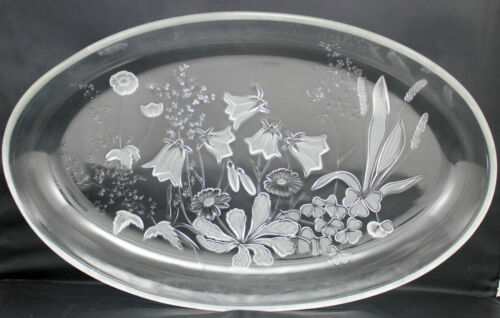 Clear Pressed Glass Oval Dish Frosted Floral Design