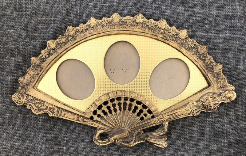 Vintage Ornate Brass Victorian Fan Shaped Triple Picture Frame
