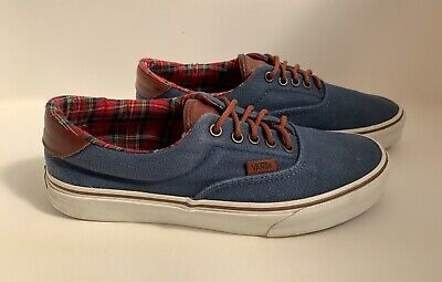 VANS OFF THE WALL TRAINERS - Size UK 7 - Blue with Leather Trim