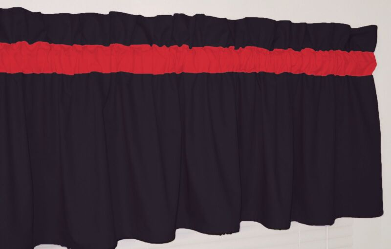 Solid Black and Red Curtain Valance Window Topper Bedroom School Dorm Team color