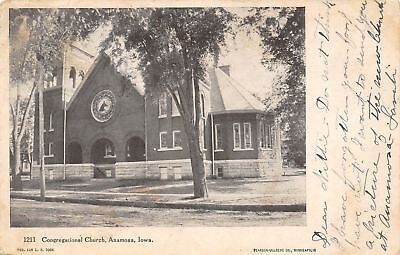 Anamosa Iowa~Congregational Church~Round Stained Glass Window 1906 Postcard ()
