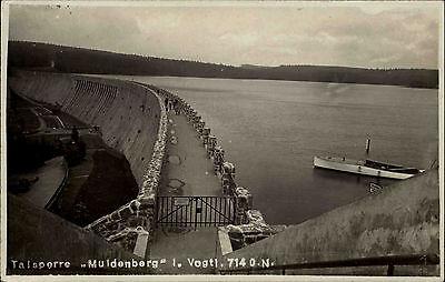Talsperre Muldenberg bei Schöneck Vogtland Sachsen s/w AK ~1940 Staumauer Boot