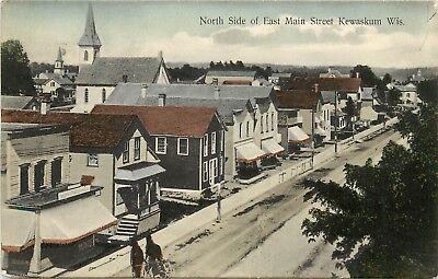 For sale c1907 Hand-Colored Postcard; N Side East Main Street, Kewaskum WI Washington Co.