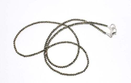 "Sliver Pyrite Gemstone 2 mm Rondelle Faceted Beads 12-40"" Strand Necklaces FFG5"