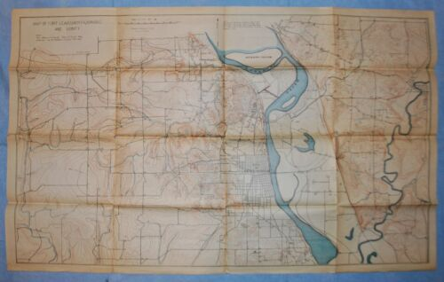 """Pre WWI 1908-09 Map of Fort Leavenworth, Kansas & Vicinity - 35"""" x 21.5"""""""