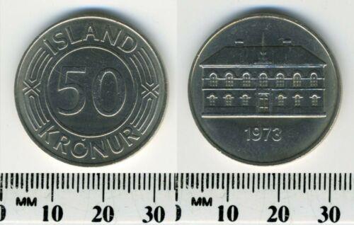 Iceland 1973 - 50 Kronur Copper-Nickel Coin - Parliament Building in Reykjavic