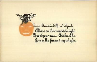 Halloween Pixy Brownie Elf Sprite Poem c1910 Postcard - ROSE CO