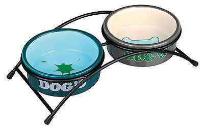 x2 Ceramic Bowls with Black Stand Eat on Feet Dog Bowls 0.3L
