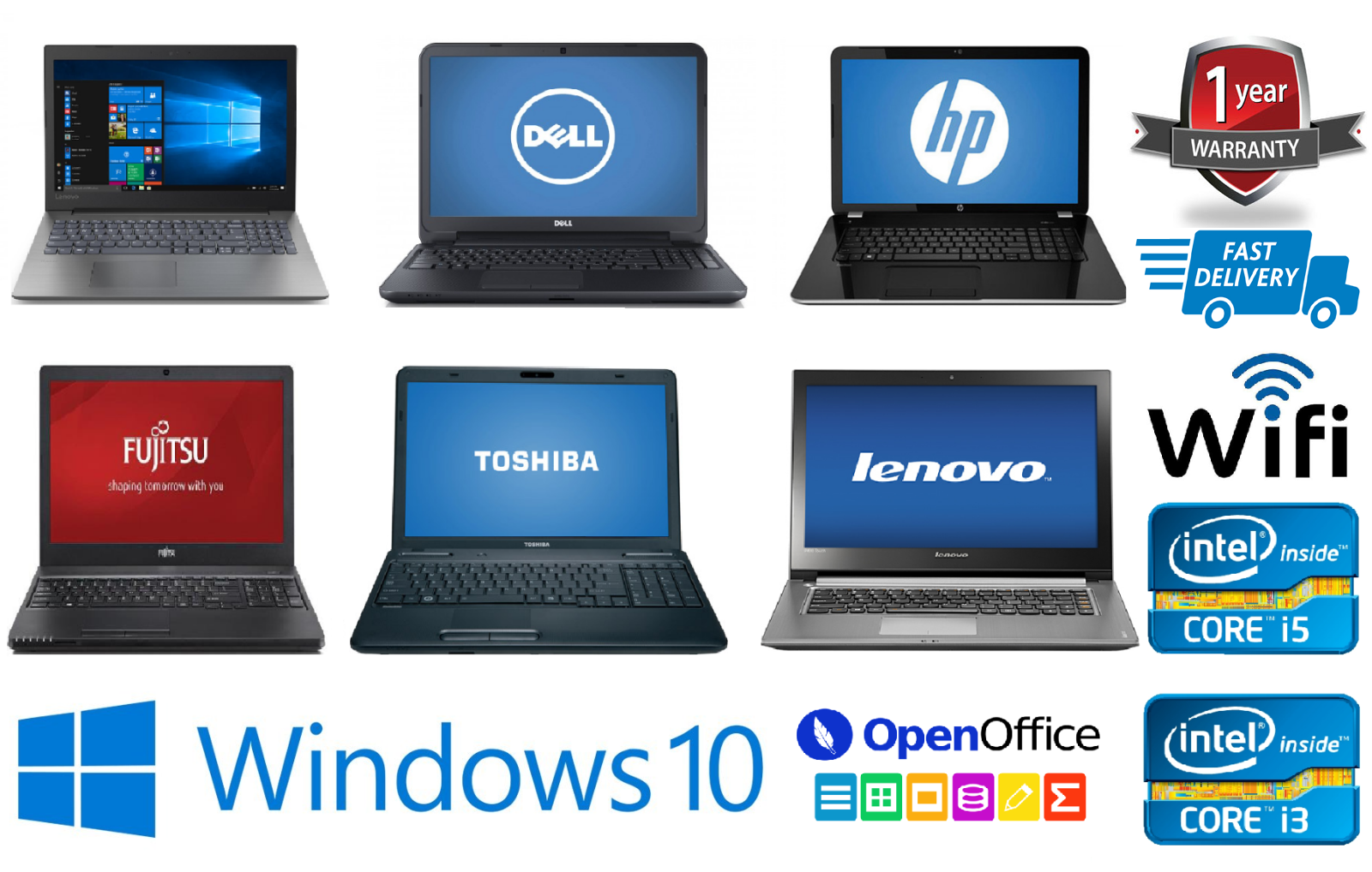 Laptop Windows - CHEAP FAST INTEL CORE Core2 Duo i3 i5 i7 LAPTOP WINDOWS 10 8GB RAM HDD/SSD WiFi