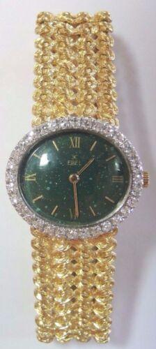 Vintage Estate Ebel Wrist Watch 18K Yellow Gold Platinum Corletto Italy D-.96CT