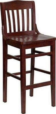 New Heavy Duty Mahogany All Wood Restaurant Barstools Lot Of 12 Bar Stools