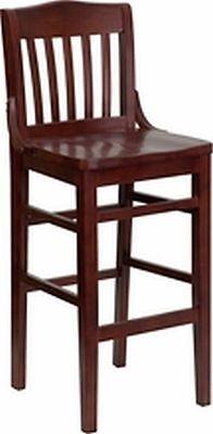 New Heavy Duty Mahogany All Wood Restaurant Barstools Lot Of 12 Bar Stools
